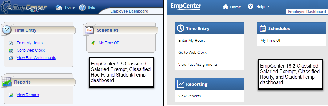side by side comparison of the EmpCenter 9.6 and EmpCenter 16.2 dashboard for employees with the webclock link