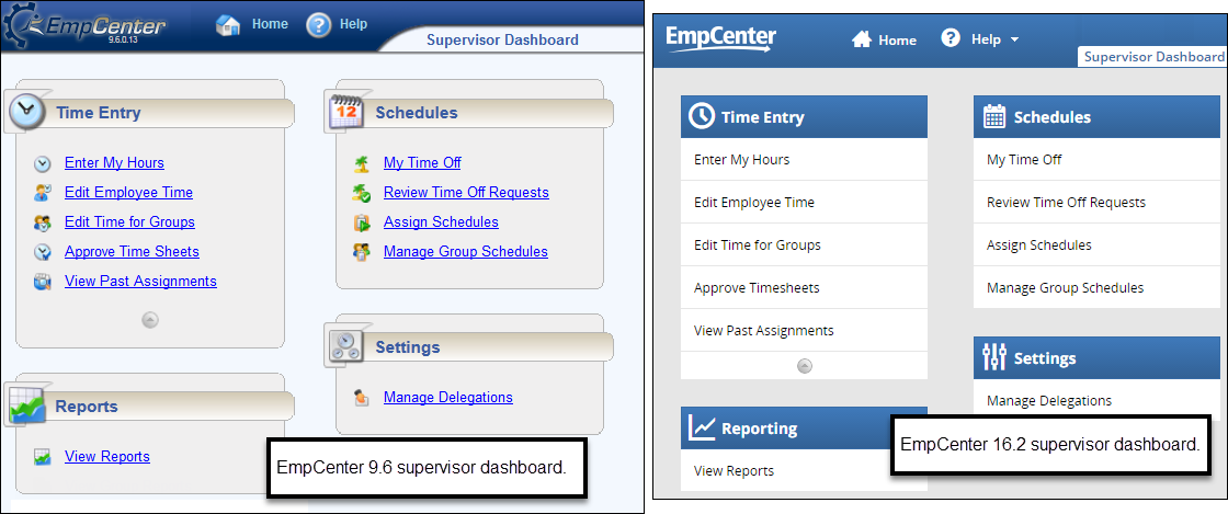 side by side comparison of the EmpCenter 9.6 and EmpCenter 16.2 dashboard for supervisors