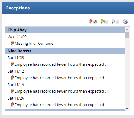 new exceptions box on supervisor and business center dashboard