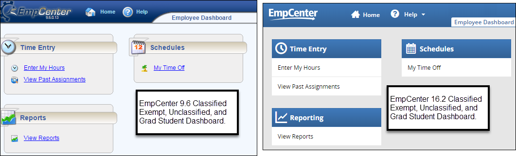 side by side comparison of the EmpCenter 9.6 and EmpCenter 16.2 dashboard for employees without the webclock option