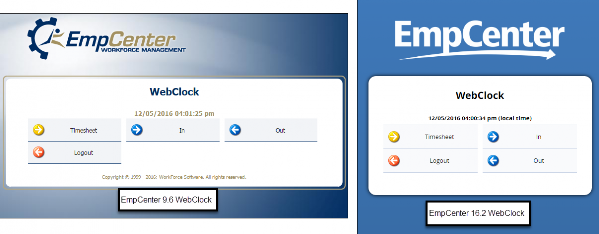 side by side comparison of the EmpCenter 9.6 webclock with out button next to in button and 16.2 webclock with out button under in button