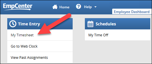 my timesheet link on the employee dashboard