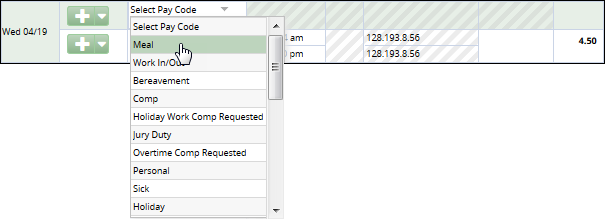 select meal from the pay code drop down to add to timesheet