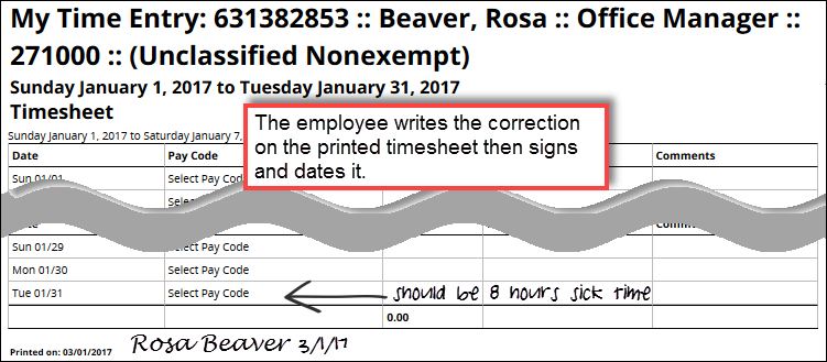 printed timesheet with employee changes and signature