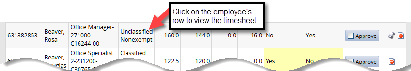 click on employee row to view timesheet