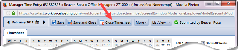 close timesheet button to close timehseet if no changes made