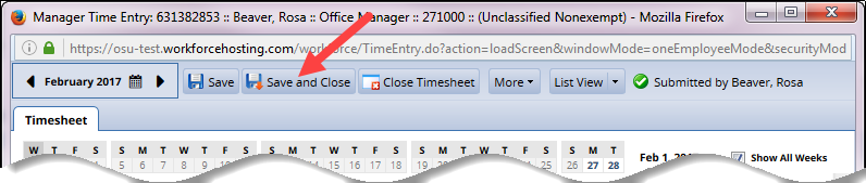save and close button to close timesheet if changes were made