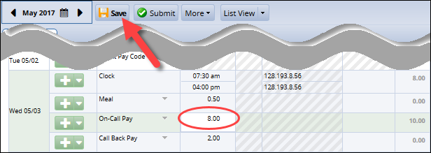 adjust the hours for on call to account for the two hours of call back pay then click save at the top of the timesheet