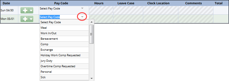 click on the arrow in the pay code column to see the pay code drop down list and select a pay code for the day