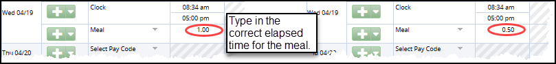 change meal time by clicking in the meal field and typing the correct elapsed time