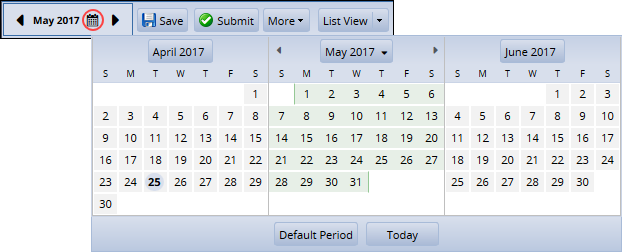 change pay period using calendar