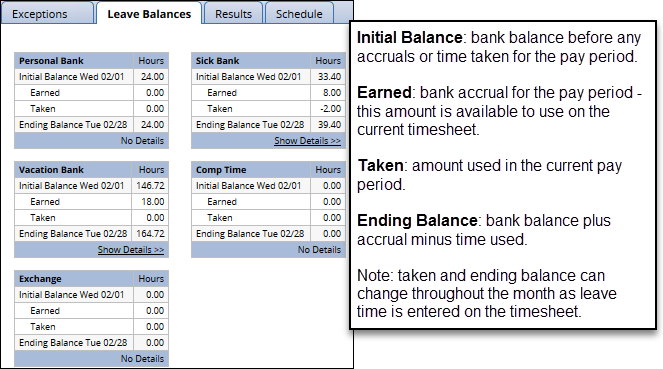 leave balances tab on timesheet for classified employees