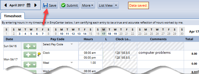 changes saved on timesheet
