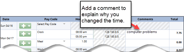 Add a comment on the line with the changed clock time