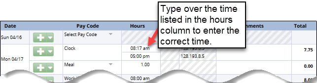where to enter the correct time for clock on timesheet that is wrong