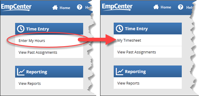 16.2 dashboard with enter my hours link highlighted and 19.1 dashboard with my timesheet link highlighted
