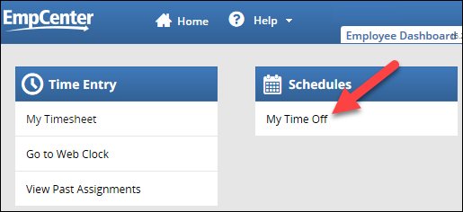 my time off link on dashboard