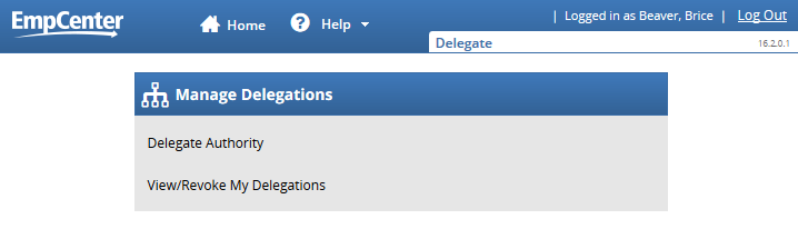 select delegate authority from delegate page