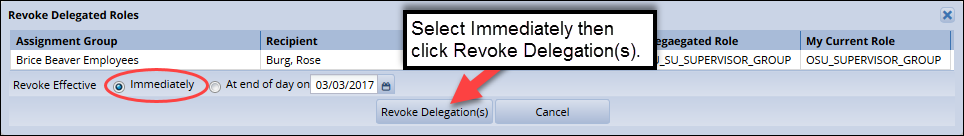 click revoke delegation(s) to save your changes after selecting immediately