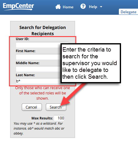 enter search criteria to find supervisor to delegate to