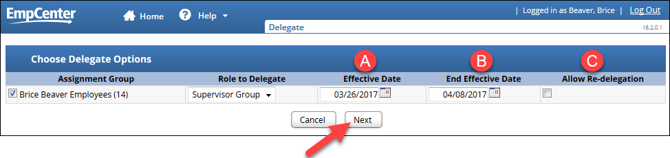 enter start date and end effective dates for the delegation and choose to allow re-delegation or not