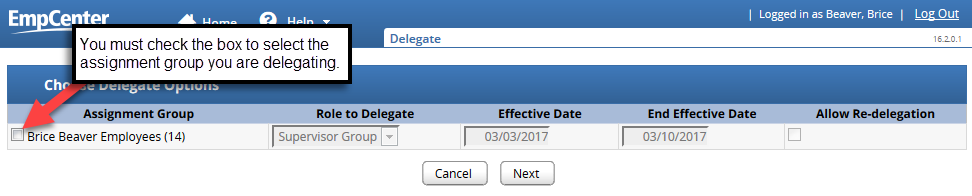 check the box next to your name to delegate your employees