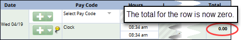 clock row zeroed out total column shows zero hours