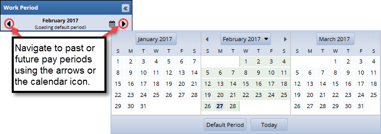 use the arrows by the pay period to change the dates you are viewing