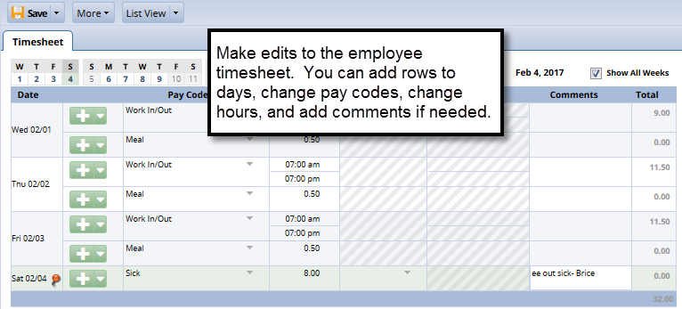 make any changes needed to the timesheet