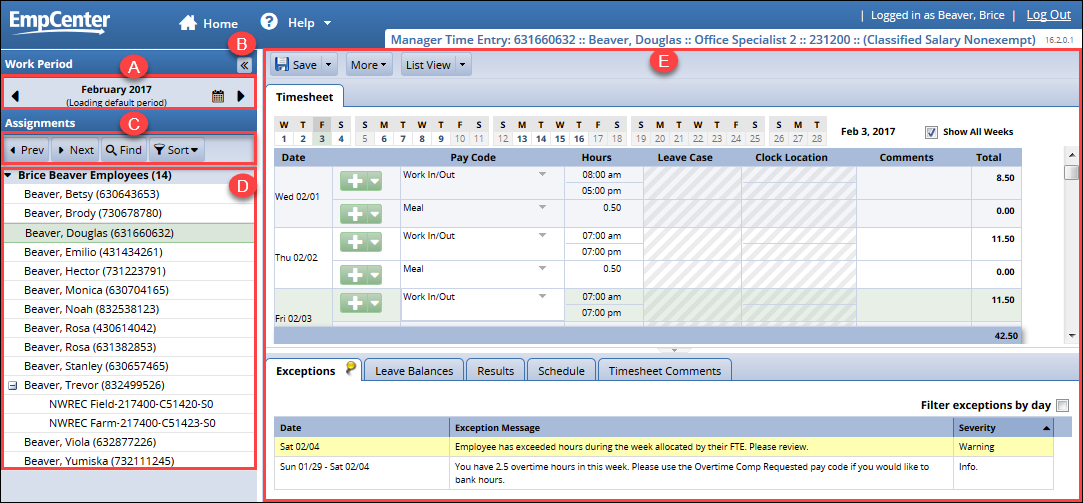 overview of manager time entry page after clicking on edit employee time link