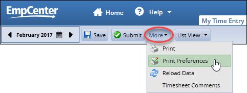 more drop down menu showing the print preferences option