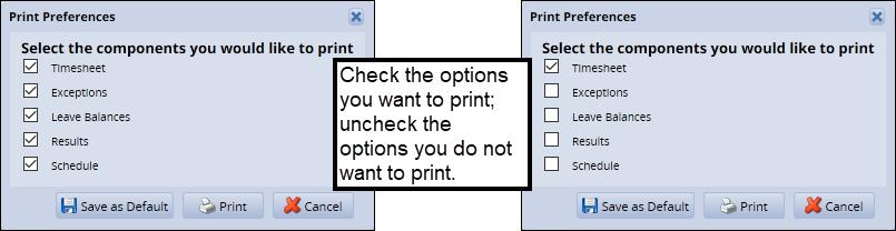 select options to print