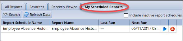 my scheduled reports tab