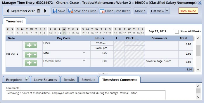 essential hours changed and comments entered on the timesheet comments tab