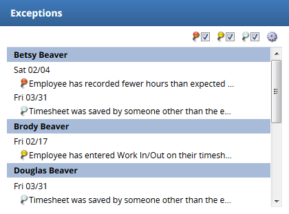 exception box on the supervisor/business center dashboard in EmpCenter 16.2