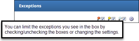 exception box filters check boxes next to pins and gear icon