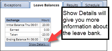 Leave balance tab with show details link on exchange bank highlighted