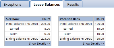 EmpCenter Leave Balances tab at the bottom of the timesheet showing the current available balances