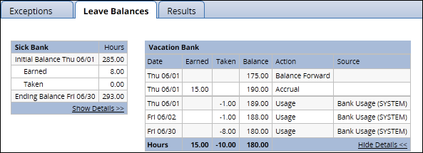 vacation leave bank with show details link clicked showing leave used during the pay period