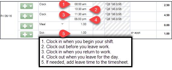 leave time without adjusting meal