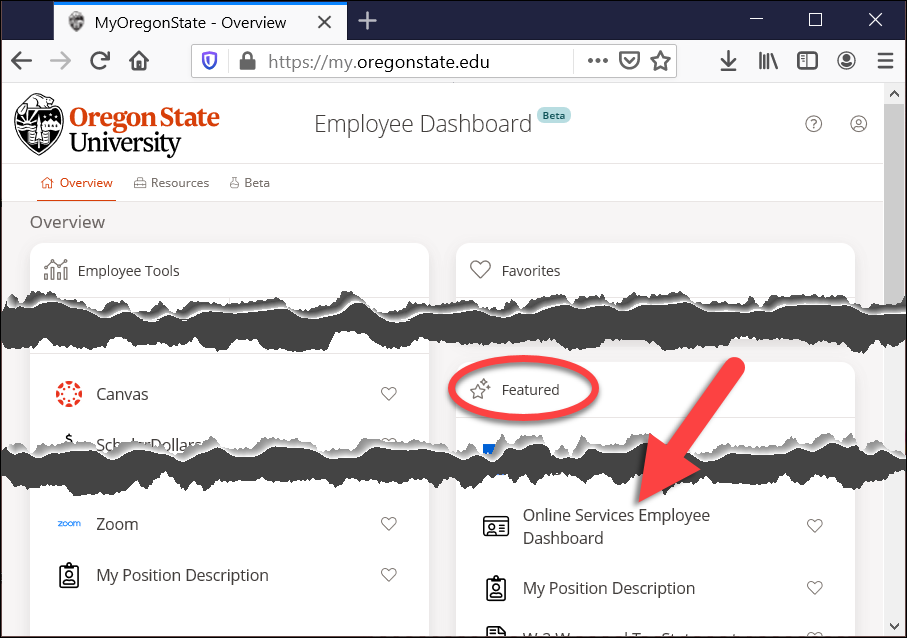 my oregonstate employee overview page with online services employee dashboard link highlighted