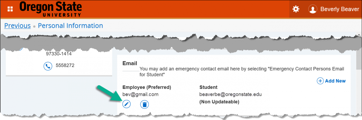 personal information page with edit button under email employee (preferred) highlighted