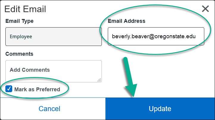 edit email window with new email entered mark as preferred check box highlighted and update button highlighted