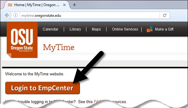 MyTime EmpCenter Login button
