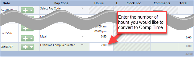 hours to convert to comp time entered in the hours column