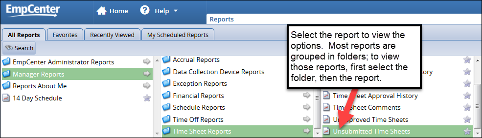 select the report to view the report criteria