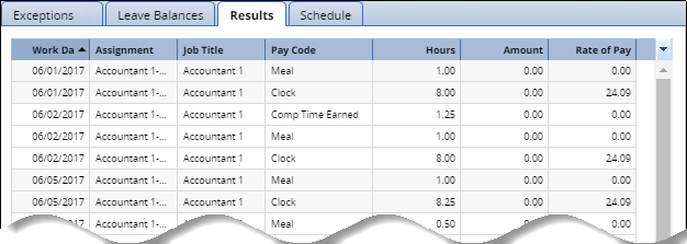 results tab at the bottom of the timesheet showing hours worked for the pay period