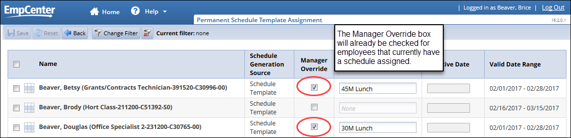 schedule template page showing manager override box already checked for employees that currently have a schedule assigned