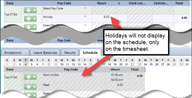 holidays do not show on the schedule tab, only on the timesheet