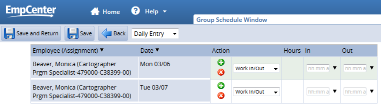 daily entry allows you to select different pay codes or different hours